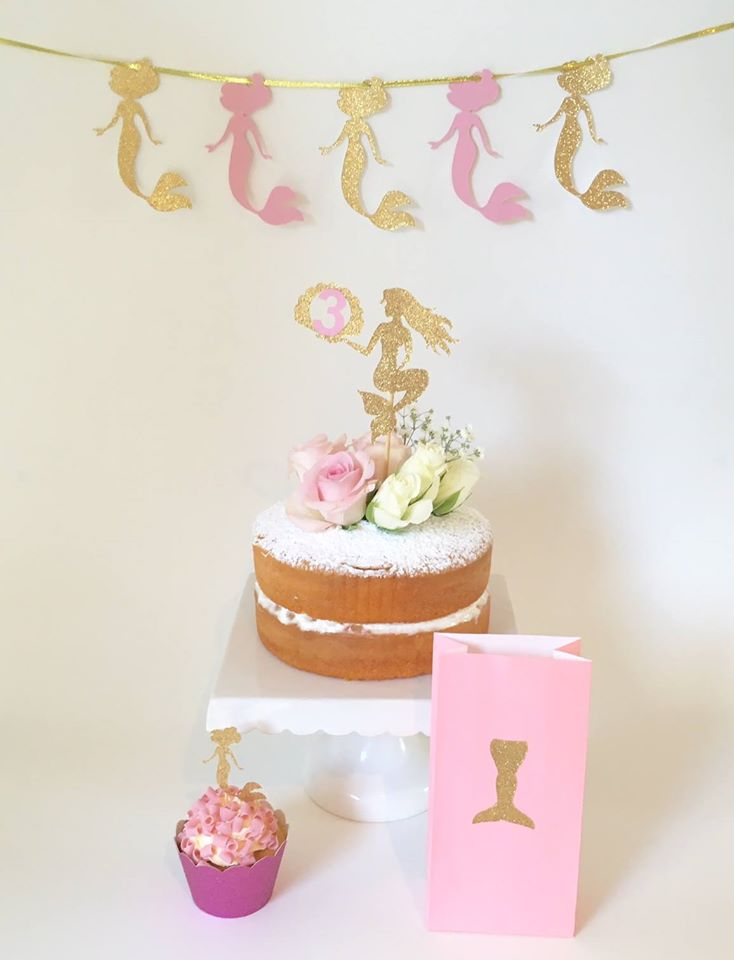 pink and gold mermaid theme