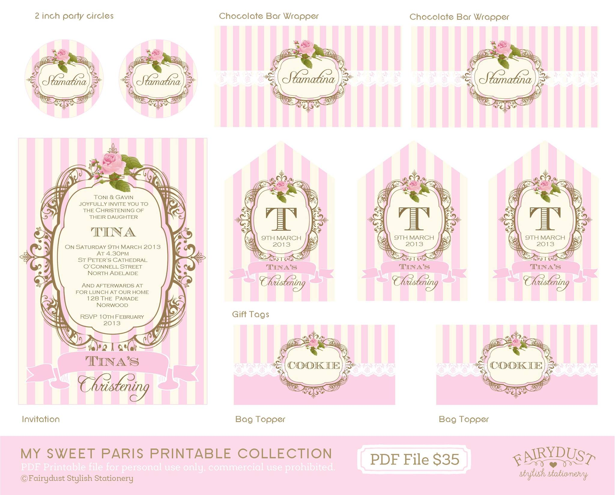 Paris party printables - Fairydust Stylish Stationery