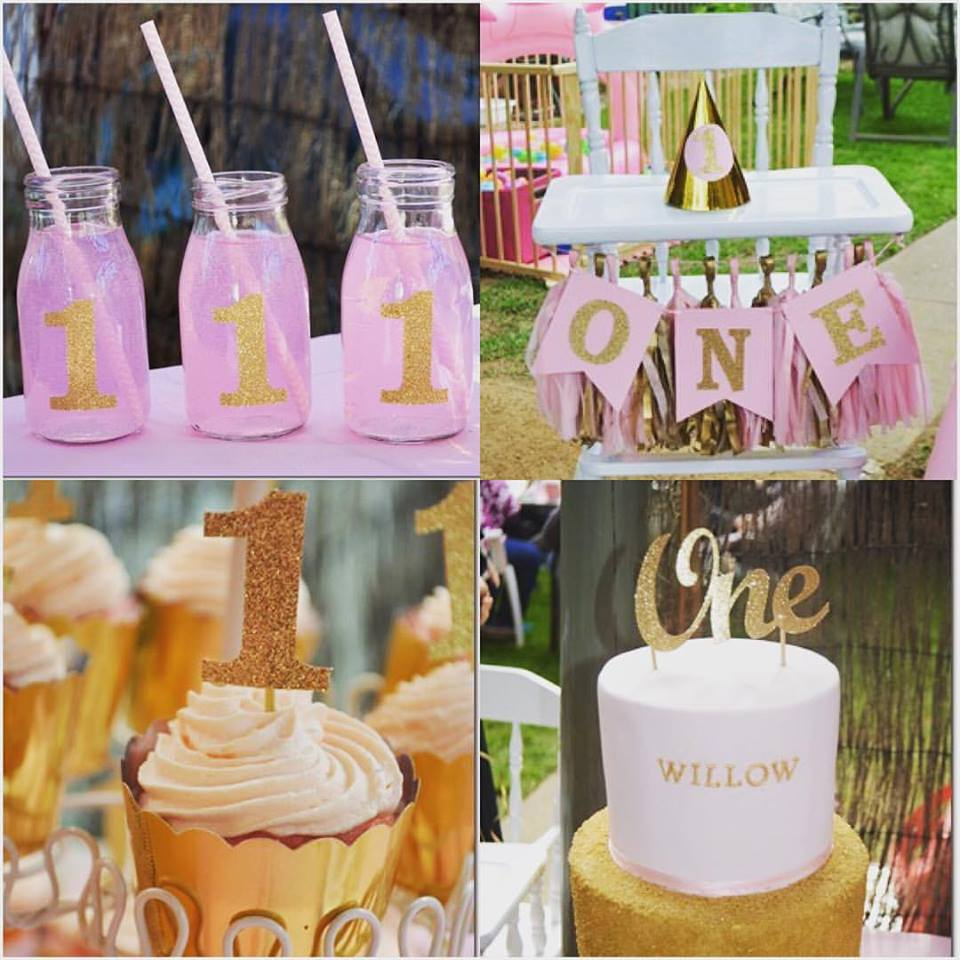 pink and gold glitter theme