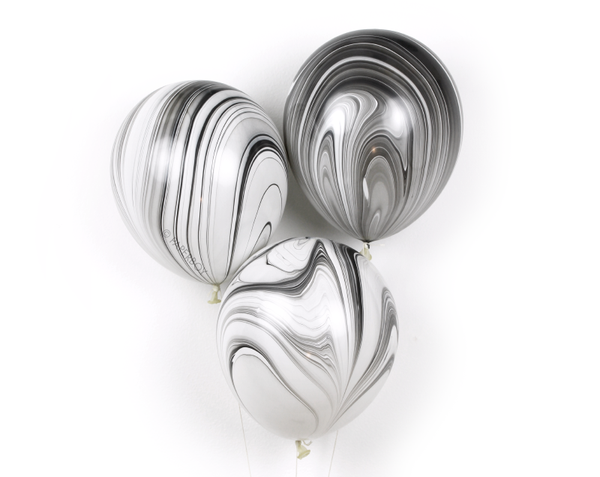 Black and white marble balloons -- One Magic Day