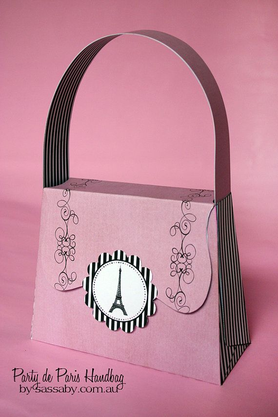 Printable paris handbag favour bag - Sassaby Parties