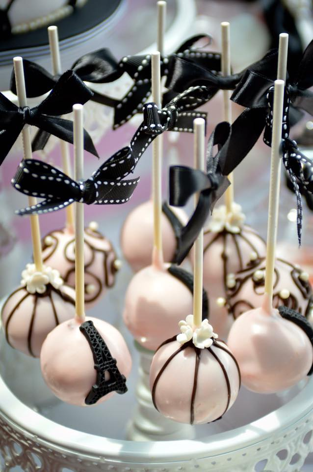 Paris inspired cake pops - JK Cake Designs in party by Sweet Bambini Event Styling
