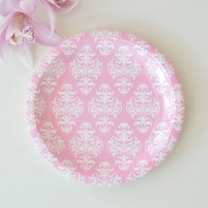 Damask round plates - My Party Boutique
