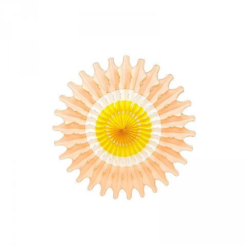 Peach and yellow paper fan - Emiko Blue