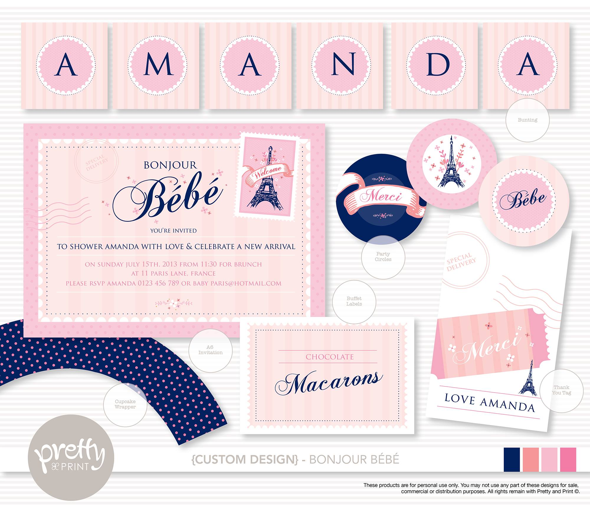 Paris party invitation - Pretty and Print