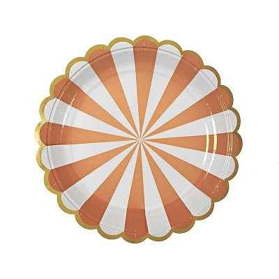 Orange striped plates - Ruby Rabbit Partyware