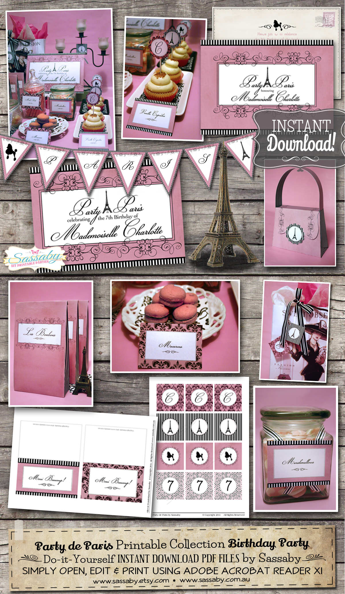 Paris de party printable collection - Sassaby Parties