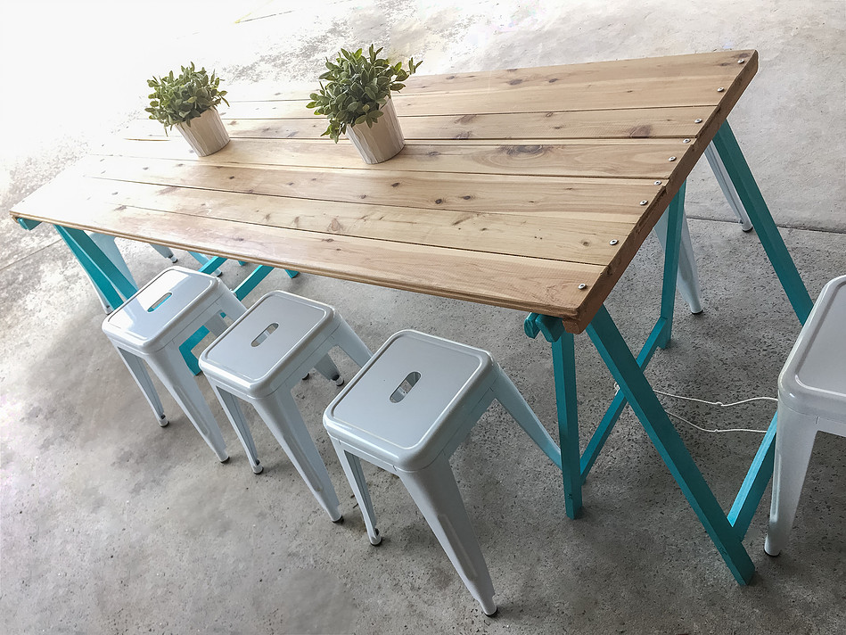 Rustic table for hire with teal legs - Petite Events Hire Sydney