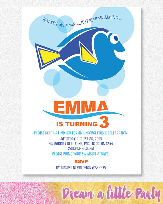 Dory invitation - Dream a little party