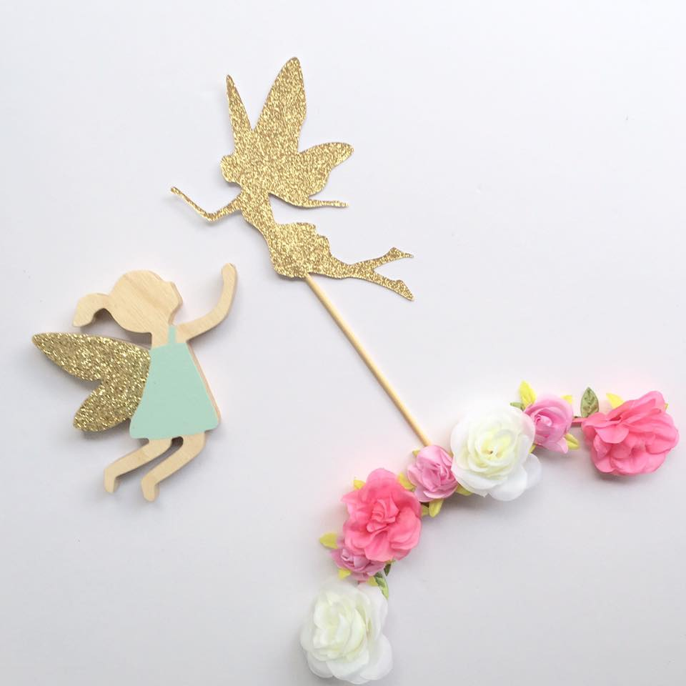 glittered fairy cupcake topper