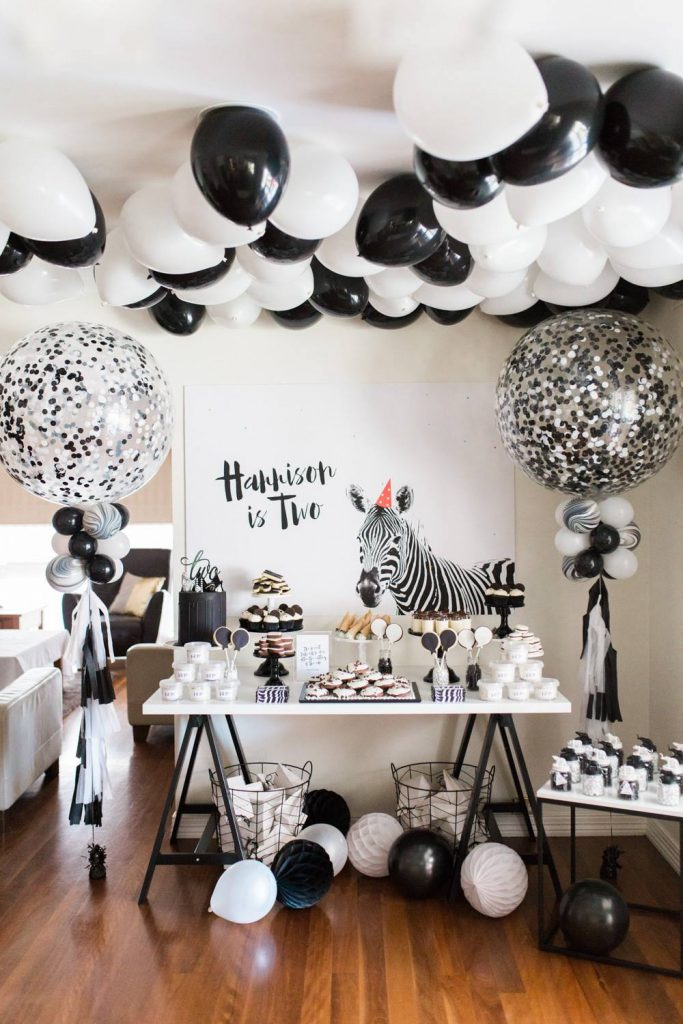 monochrome safari party theme