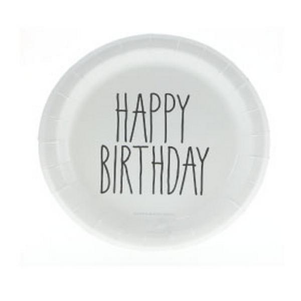 Black and white birthday plates - The Little Event Company