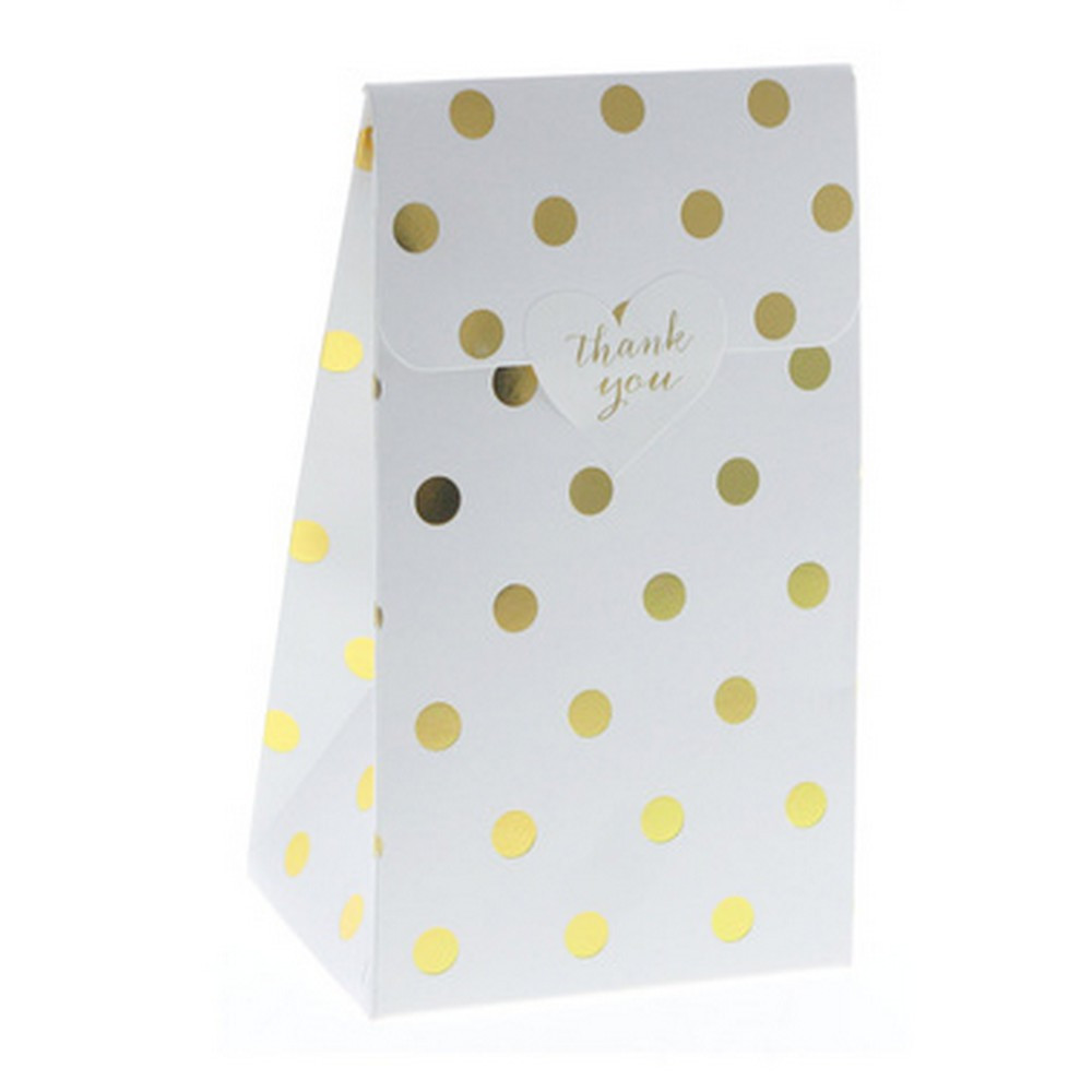 White with gold foil dots favour bag - The Little Event Company