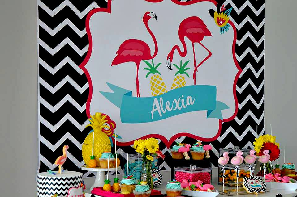 Tropical party backdrop design - Giggles and Grace Design