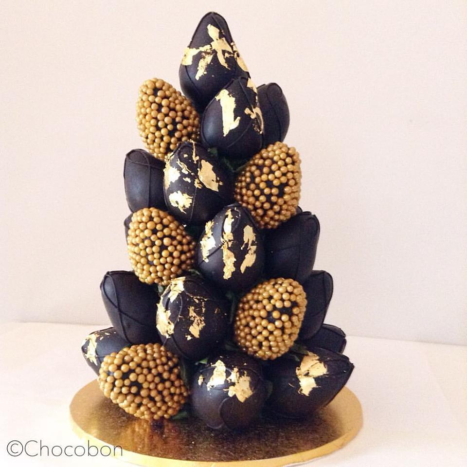Black and gold chocolate coated strawberry tower - Chocobon (Melbourne)