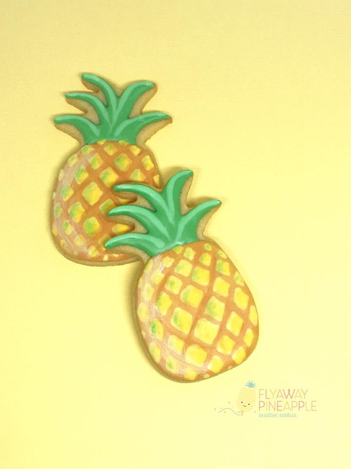 pineapple themed cookies - flyaway pineapple