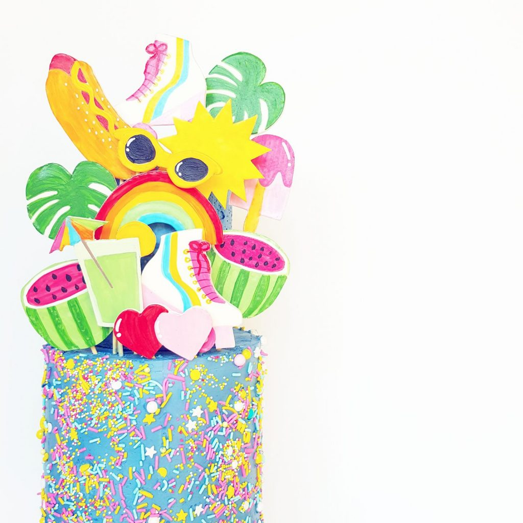 tropical themed cake - frosted by nicci