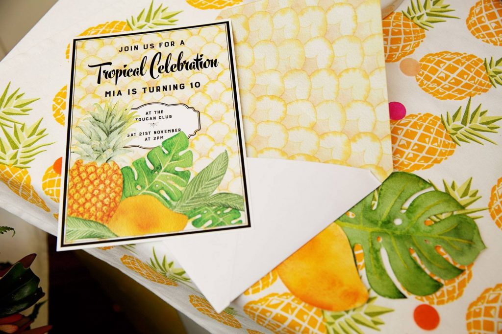 tropical party theme invitations - elk prints