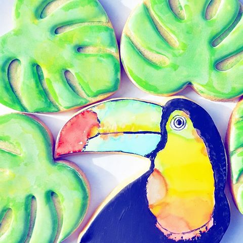 tropical themed cookies - frosted by nicci