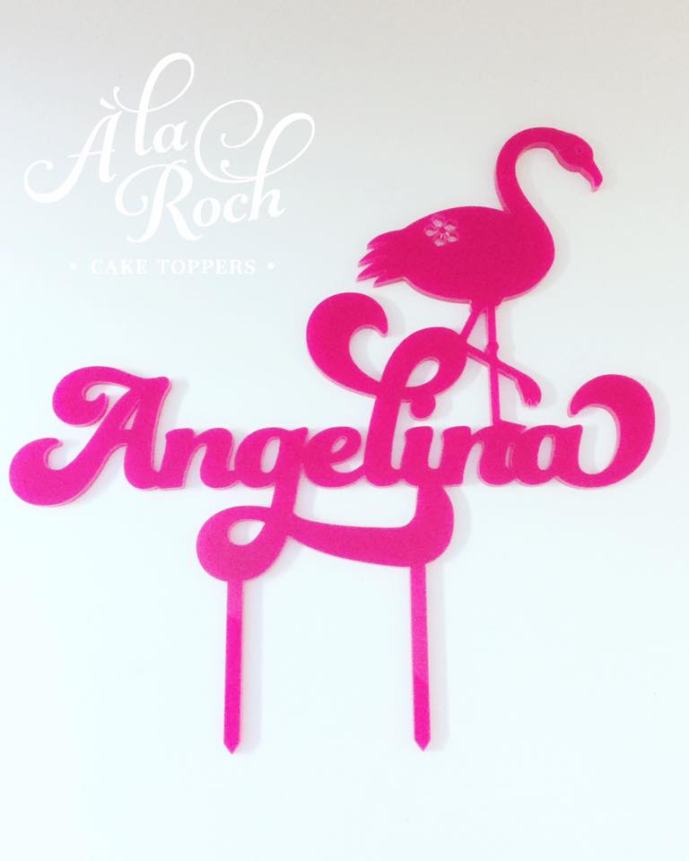 custom flamingo cake topper - a la roch