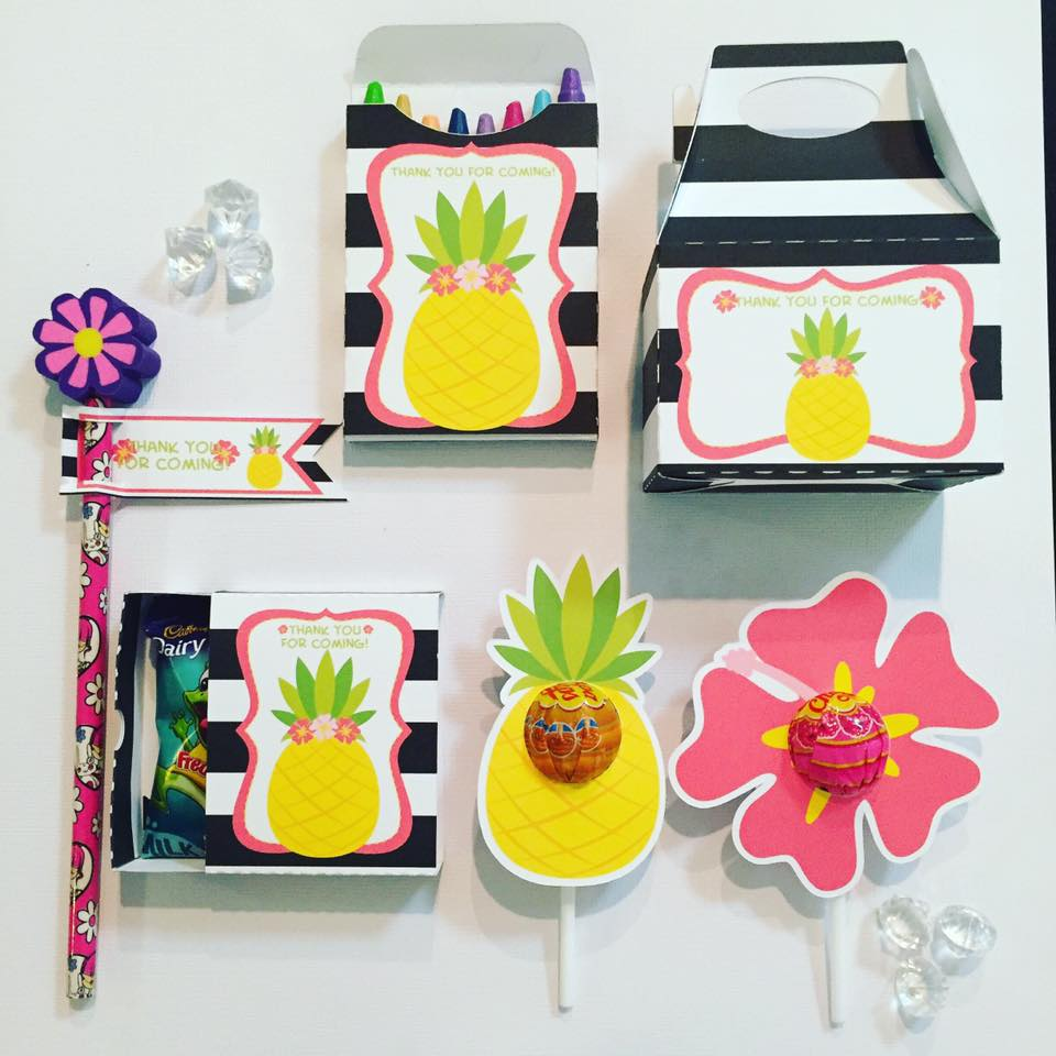tropical party favours - glitter and glue designs