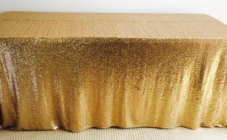 gold sequin tablecloth - saffy & may