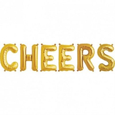 cheers gold balloons - ruby rabbit partyware