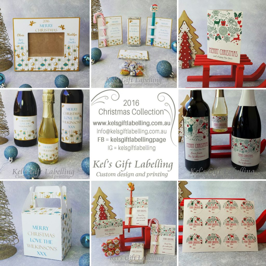 Christmas wine labels, gift labels, photo frames and gifts - Kel's Gift Labelling