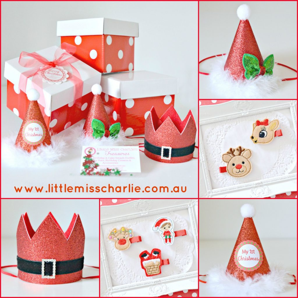 Christmas hats and hair accessories - Little Miss Charlie's Treasures