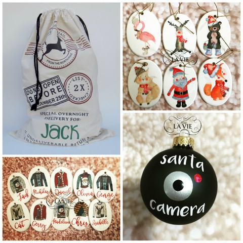 Christmas customised sacks, tags and baubles - Miss Lavie