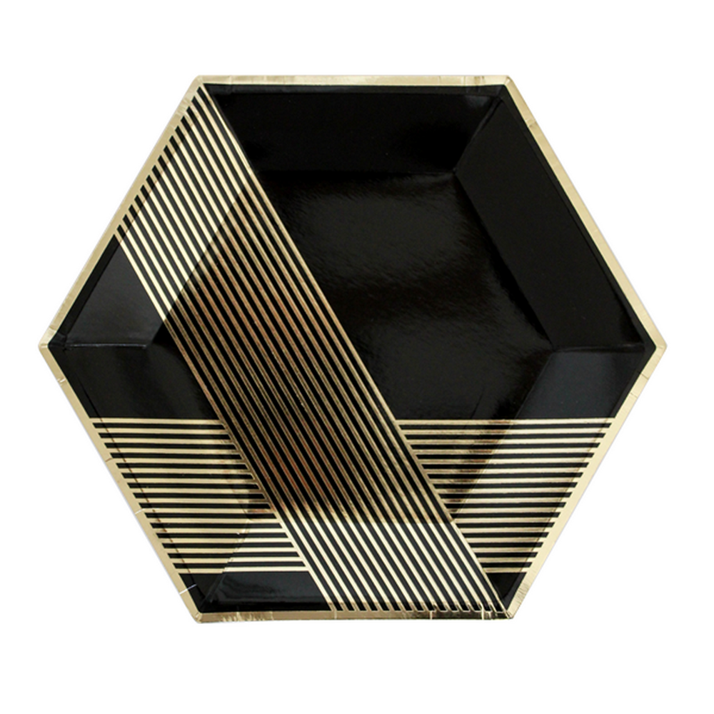 Noir hexagon large plate - The Little Event Company