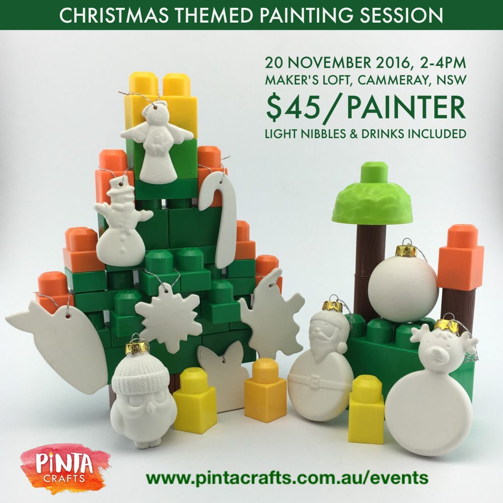 Christmas ceramic ornament painting session - Pinta Crafts