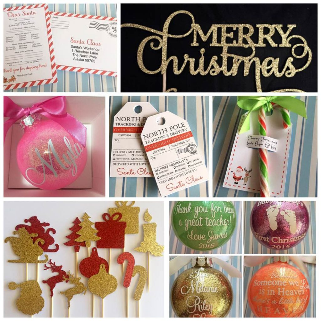Christmas personalised baubles, santa letters, tags and toppers - DIY Parties by Renee