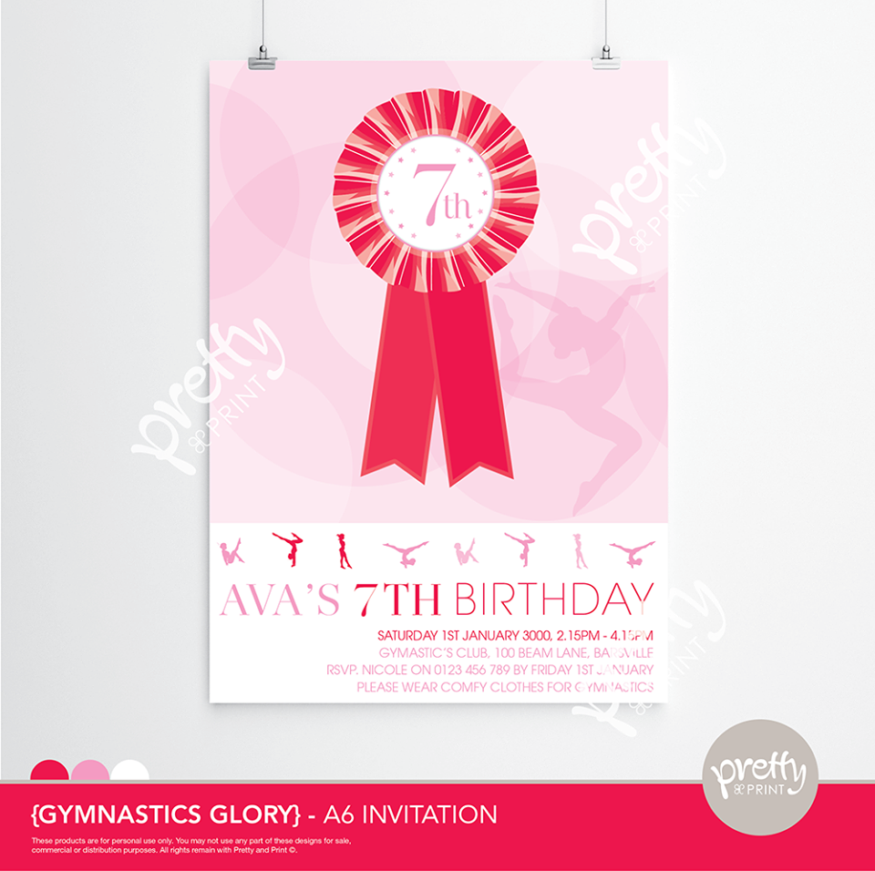 Gymnastics Invitation - Pretty & Print