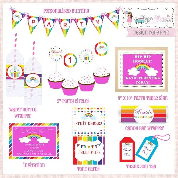 rainbow party - paper blossom creations