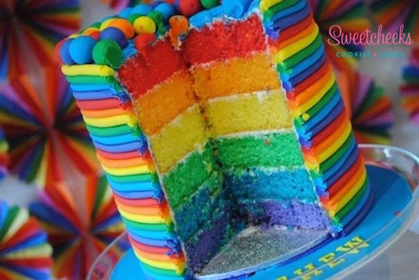 rainbow layered cake - sweetcheeks cookies and cakes