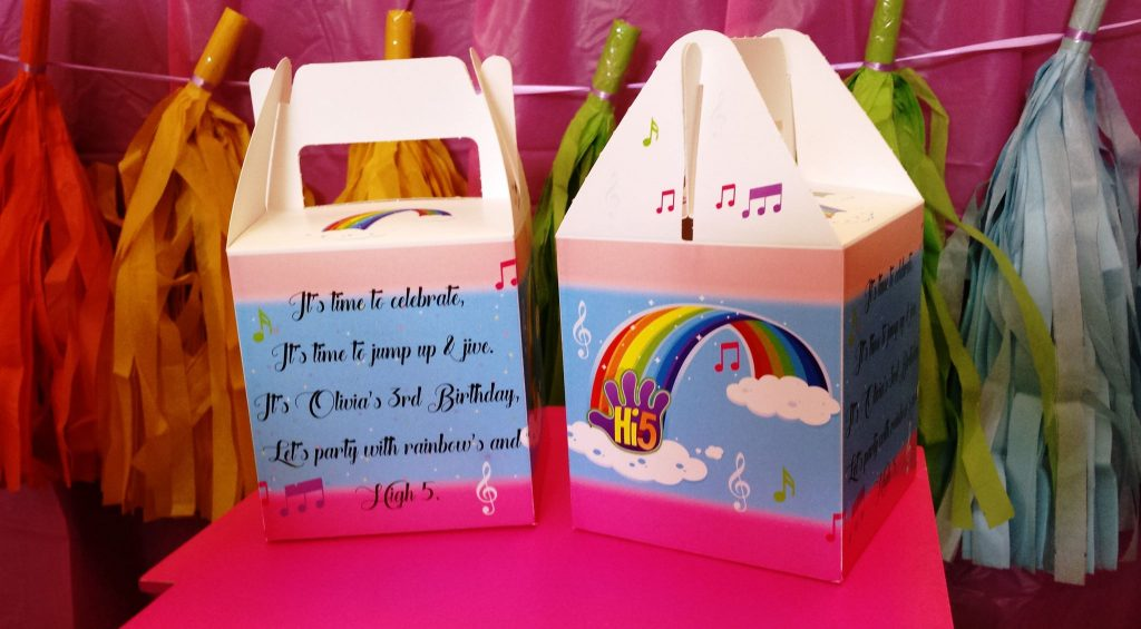 rainbow party treat boxes - kels gift labelling