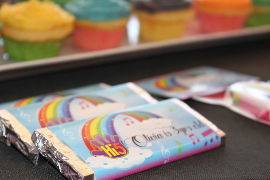 rainbow chocolate wrappers - kels gift labelling