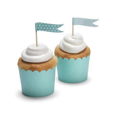 turquoise cupcake baking cups - little kite