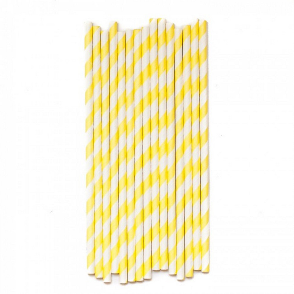 yellow paper straws - the little event company
