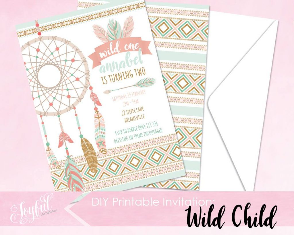 boho party theme invitations