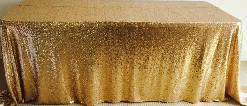 gold sequin tablecloth for hire