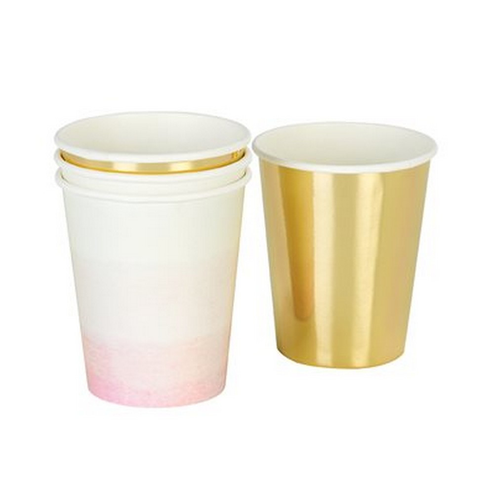 pink and gold tableware
