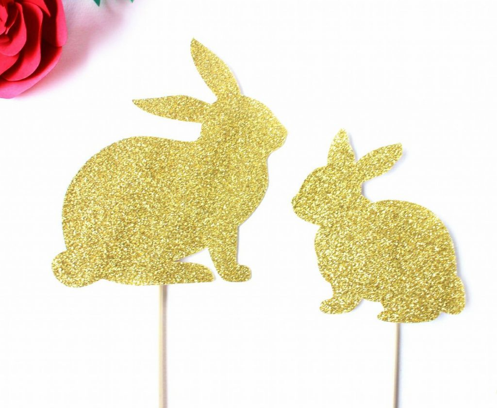 gold glitter bunny cupcake toppers