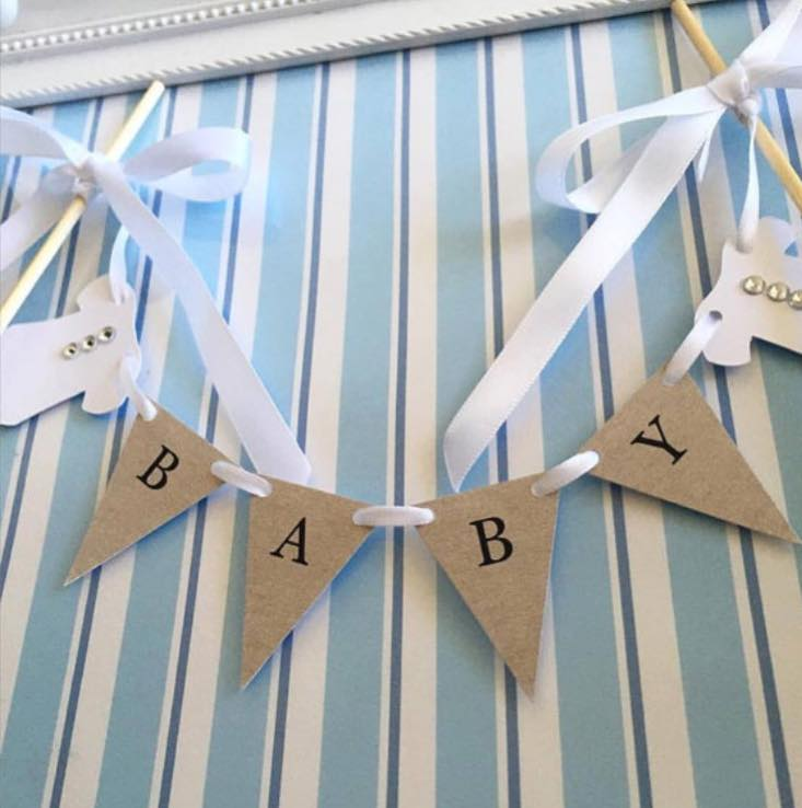 baby shower bunting cake topper