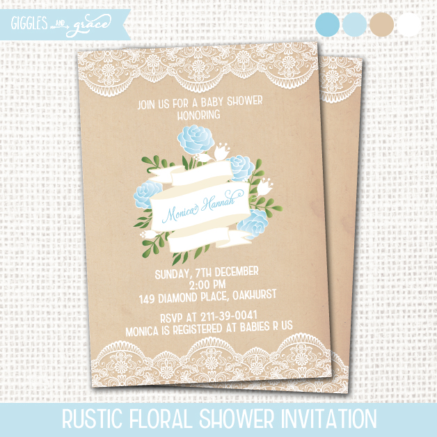 rustic floral baby shower invitations