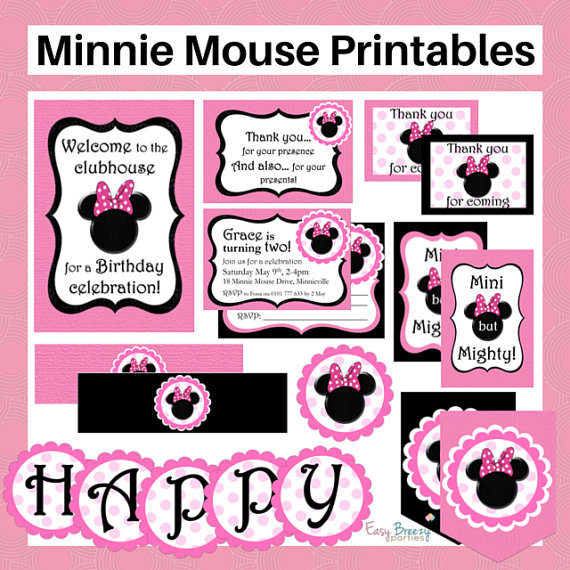 minnie mouse party stationery