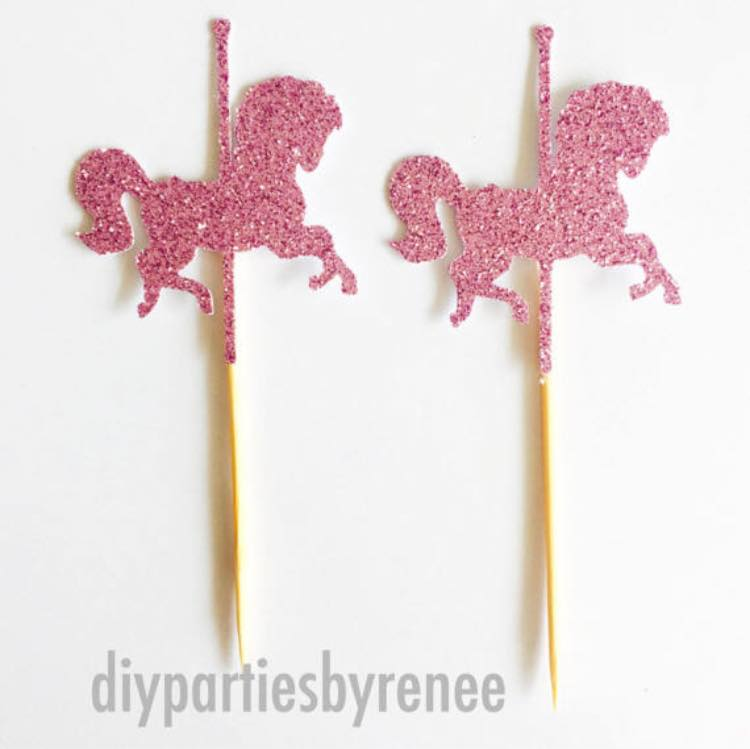 carousel party cake toppers