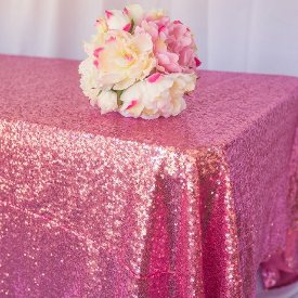 pink sequin table cloth for hire