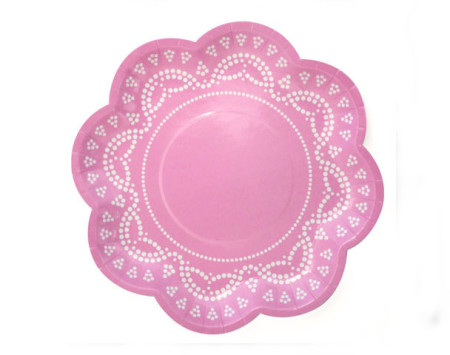 vintage pink party plates
